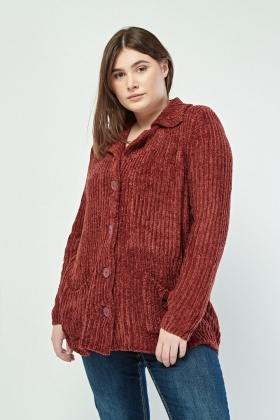 Button Front Chenille Knit Cardigan