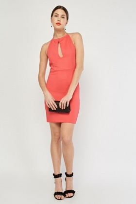 Keyhole Halter-Neck Bodycon Dress