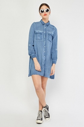 Light Denim Blue Shirt Dress