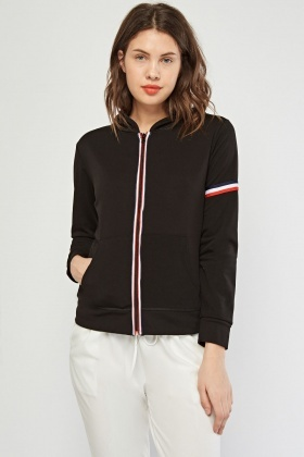 Striped Trim Casual Hooded Jacket