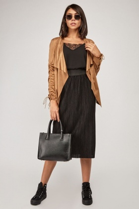 Waterfall Draped Faux Suede Jacket