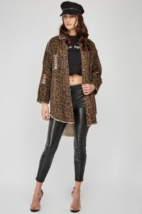 Animal Print Distressed Jacket