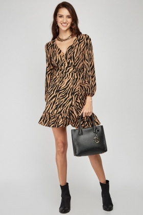 Animal Print Ruffle Hem Wrap Dress