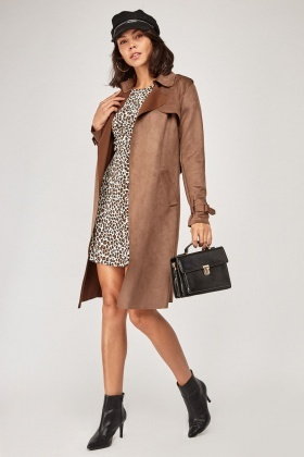 Brown Faux Suede Trench Coat