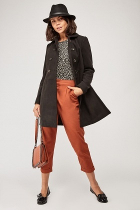 Button Front Long Line Coat