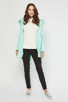 Mint Faux Fur Coat