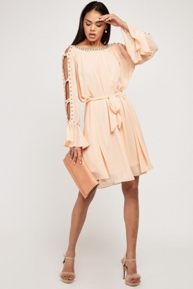 Peach Embellished Tie Up Waist Shift Dress