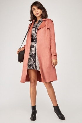 Azalea Faux Suede Trench Coat