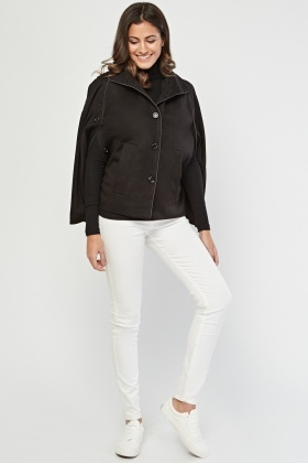 Hooded Button Front Cape