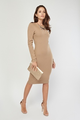 Long Sleeve Beige Midi Dress