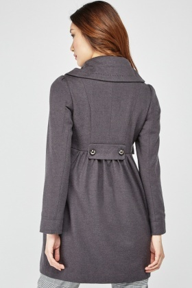 Ruffle Tier Zip Up Coat