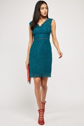 V-Neck Green Lace Overlay Dress