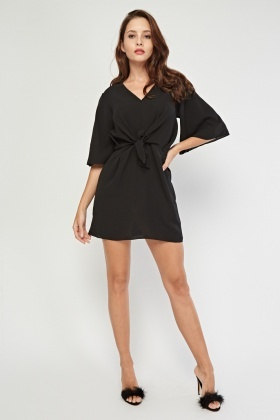 V-Neck Knot Front Dress