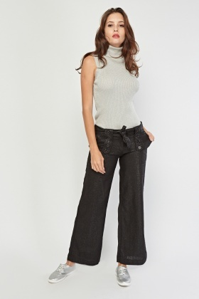 Wide Leg Black Shimmer Trousers