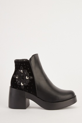 Embellished Side Detail Ankle Boots