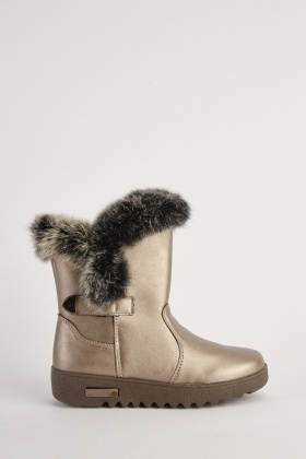 Fur Trim Metallic Ankle Boots