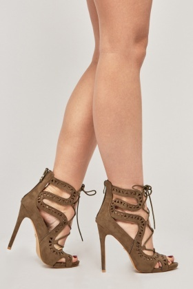 Laser Cut Open Toe Heels