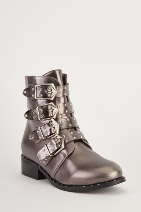 Metallic Multi Buckle Ankle Boots