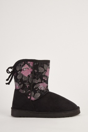 Rose Printed Fleece Lined Boots