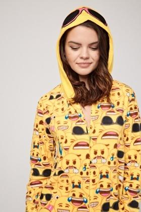 db67d512b46b Emoji Print Hooded Onesie - Just £5