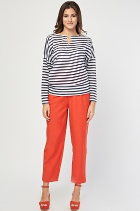 Keyhole Front Striped Top