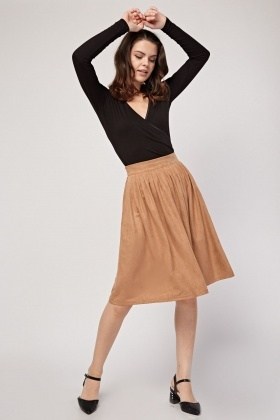 Pleated Front Suedette Skirt