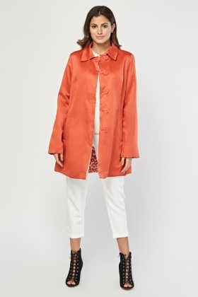 Reversible Contrasted Collared Coat