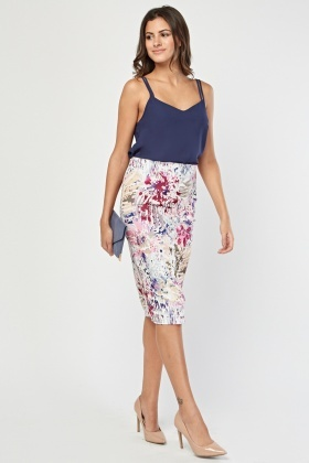 Scattered Print Midi Skirt