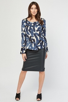 Brushed Stroke Printed Sheer Blouse