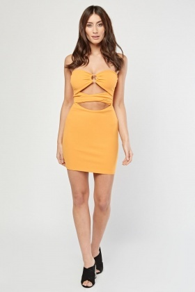 Cut Out Tie Up Bandeau Dress