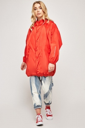 Oversized Red Hooded Rain Jacket