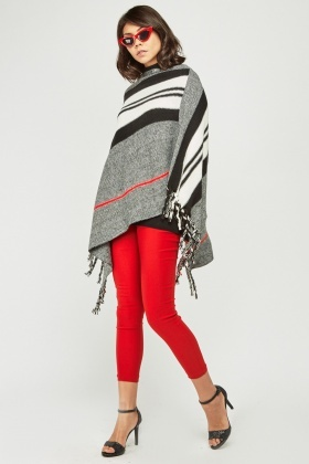 Striped Knit Fringed Poncho