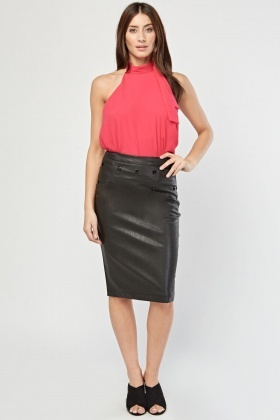 Studded Faux Leather Midi Skirt