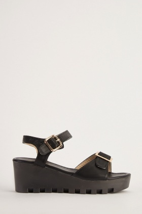 Buckle Front Chunky Heel Sandals