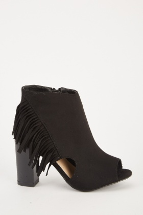 Fringed Peep Toe Ankle Boots