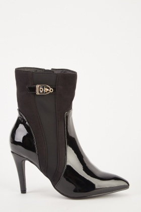 PVC Contrasted Heeled Boots