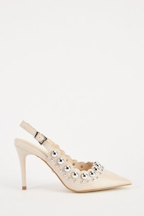 a7766ee02a2 Studded Scallop Trim Court Heels