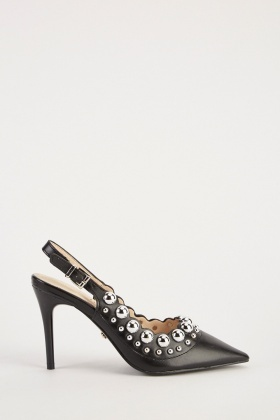 Studded Scallop Trim Court Heels