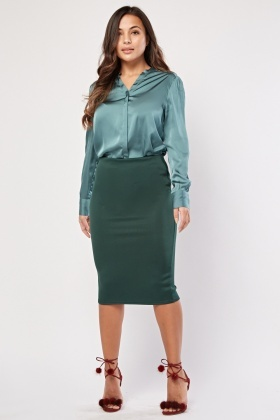Dark Green Midi Tube Skirt