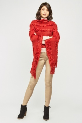 Knitted Layered Fringed Poncho