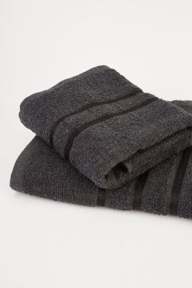 Luxury Cotton Charcoal Set Of 2 Towels
