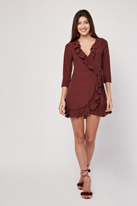 Ruffle Chiffon Wrap Dress