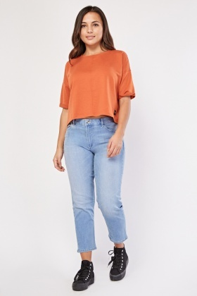 Short Sleeve Orange Crop Top