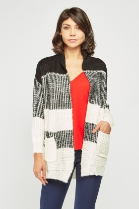 Chunky Striped Knit Cardigan