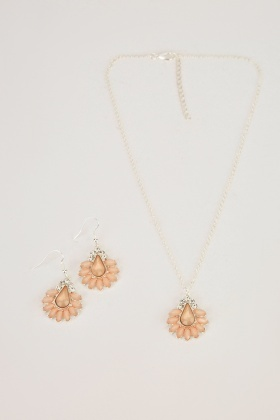 Diamante Encrusted Necklace And Earrings Set
