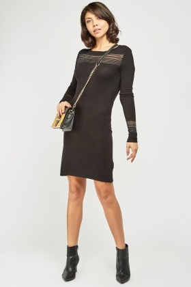 Metallic Stripe Panel Knit Dress