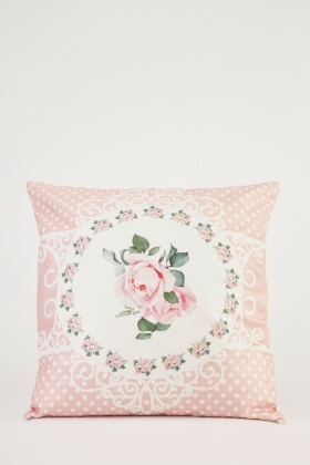 Rose Printed Contrasted Cushion