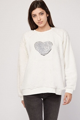 Sequin Heart Fluffy Lounge Sweatshirt