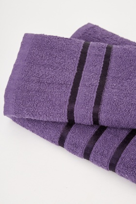 Textured Purple Set Of 2 Towels