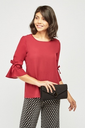 Tie Up Sleeve Chiffon Blouse